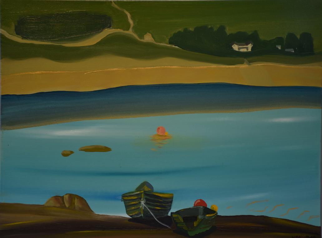 Loch Fannich Boats 2019, oil on canvas 60x90cm